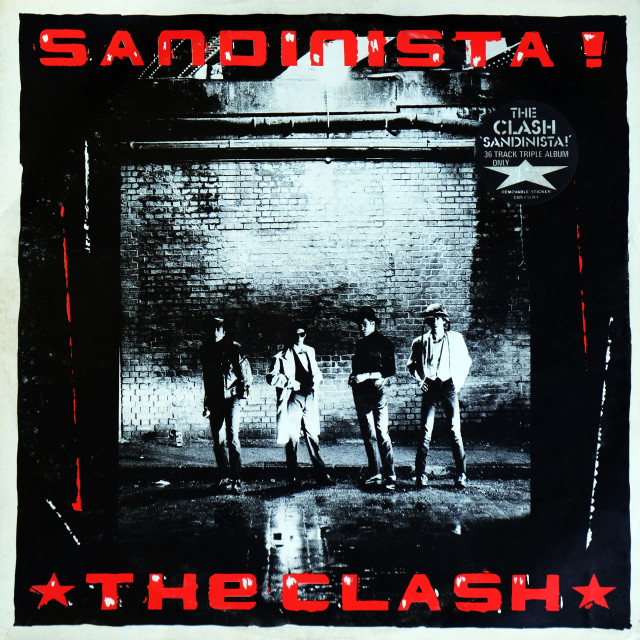 """""""The Clash: triple LP front cover 'Sandinista'"""" stock image"""