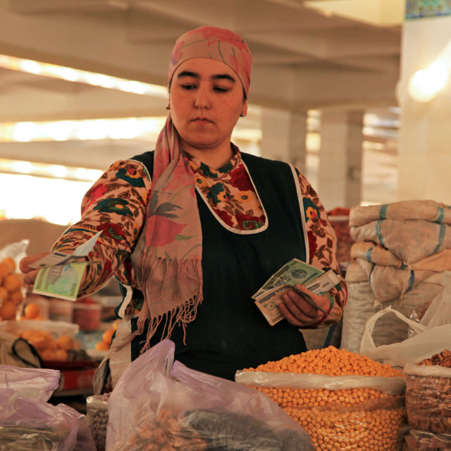 """Traditional market in Uzbekistan"" stock image"