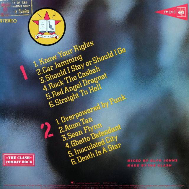 """The Clash: LP back cover 'Combat Rock'"" stock image"
