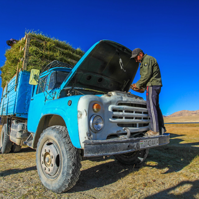 """Farmers working in the hay-fields in the Pamirs"" stock image"
