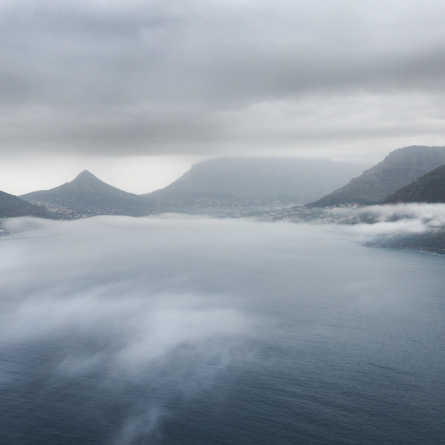 """""""Houtbay in the mist"""" stock image"""