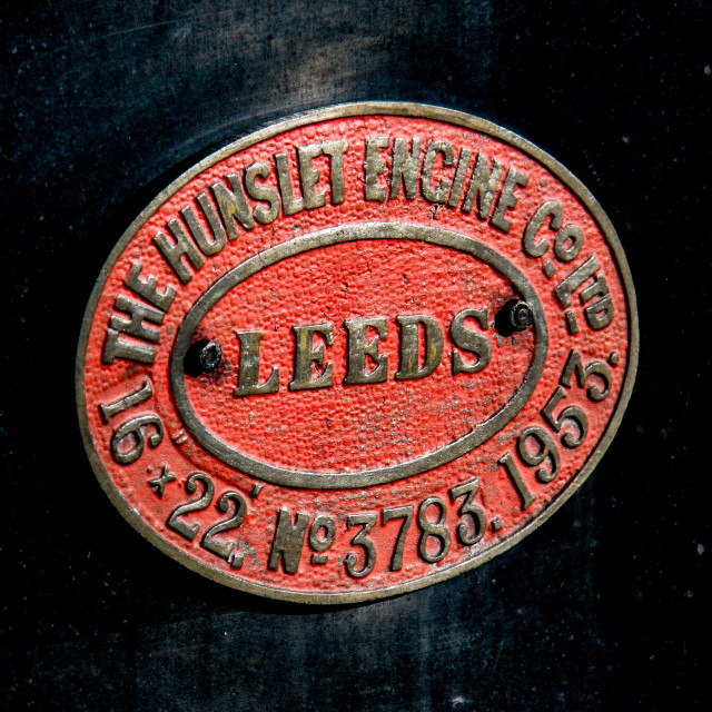 """""""Embsay and Bolton Abbey Steam Railway. Manufacturers Identification Plate. The Hunslet Engine Company."""" stock image"""