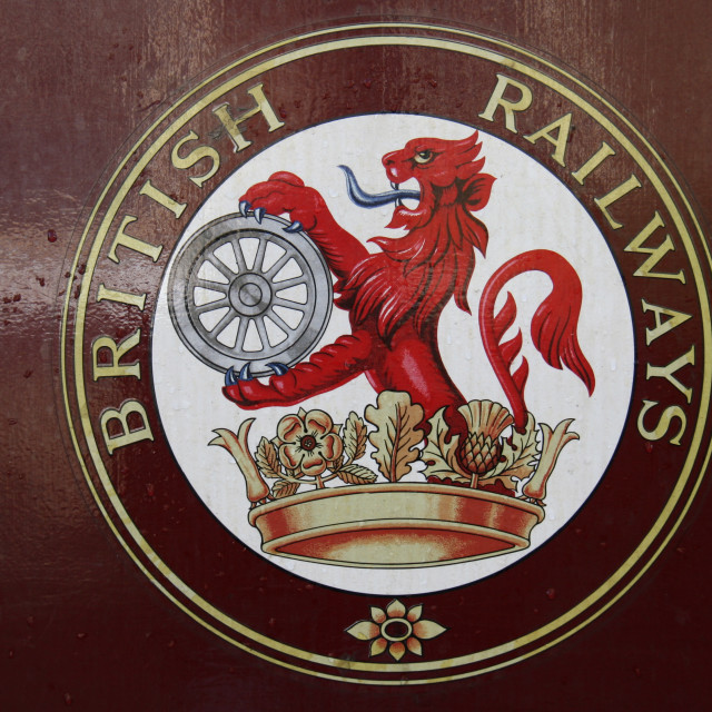 """""""Embsay and Bolton Abbey Steam Railway. Rolling Stock, Carriage, British Railways Logo."""" stock image"""