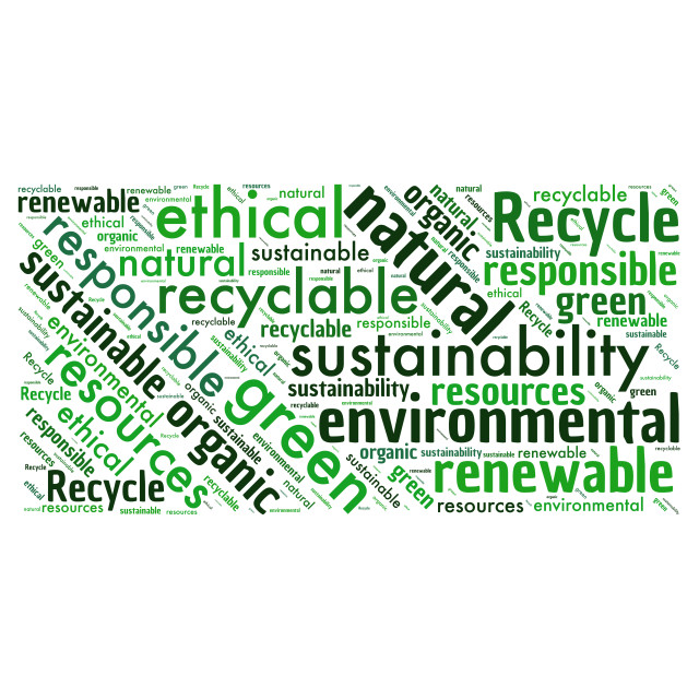 """""""Illustration of a word cloud with words representing the environ"""" stock image"""
