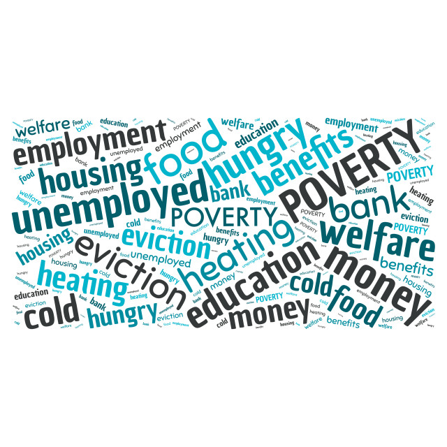 """""""Illustration of a word cloud with words representing poverty"""" stock image"""