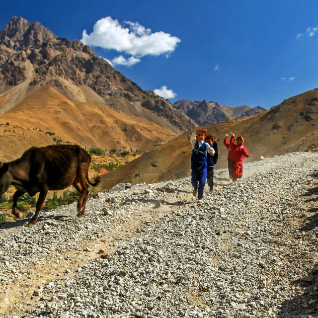 """Children in rural and remote Fann mountains going to school"" stock image"