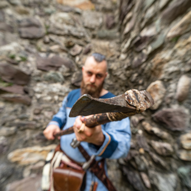 """""""Close-up of the ax wielded by a Viking warrior"""" stock image"""