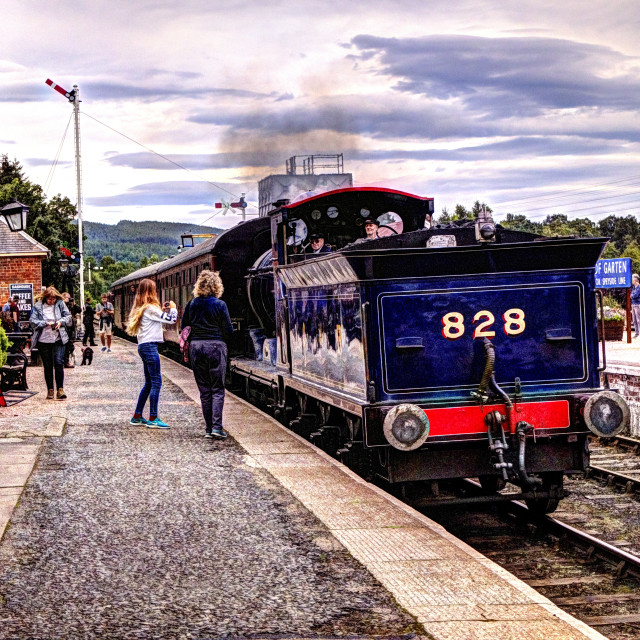 """""""Waiting For The Steam Train"""" stock image"""