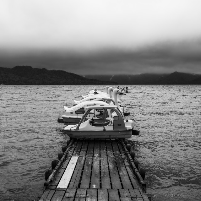 """Boats at Lake Kussharo, Hokkaido, Japan"" stock image"