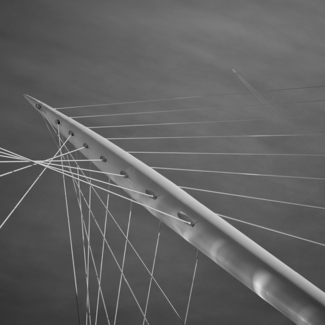 """My Manchester - Trinity Bridge (B&W)"" stock image"