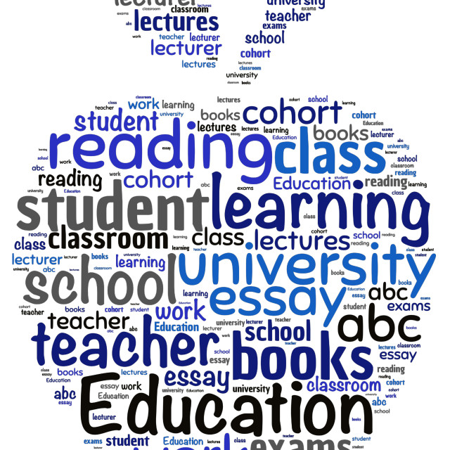 """""""Illustration of a word cloud with words representing education"""" stock image"""