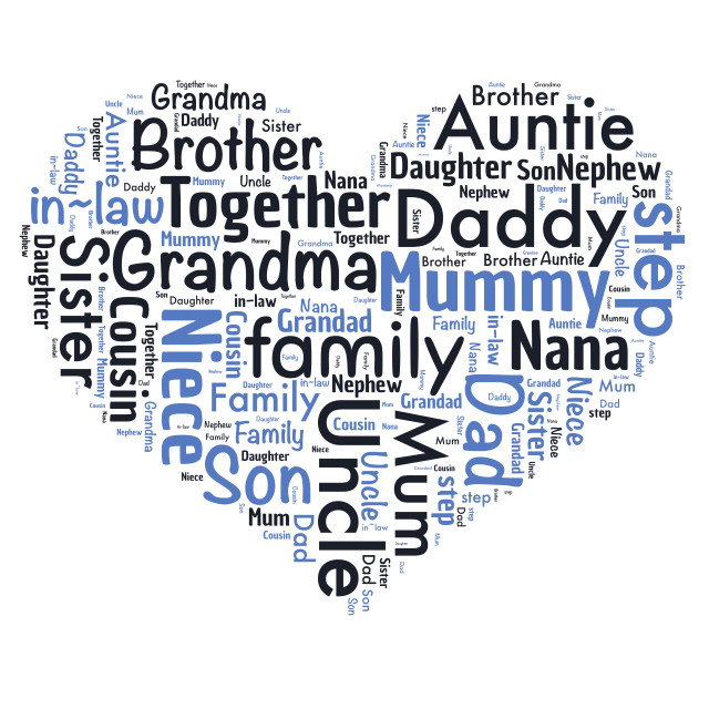 """""""Illustration of a word cloud with words representing family"""" stock image"""