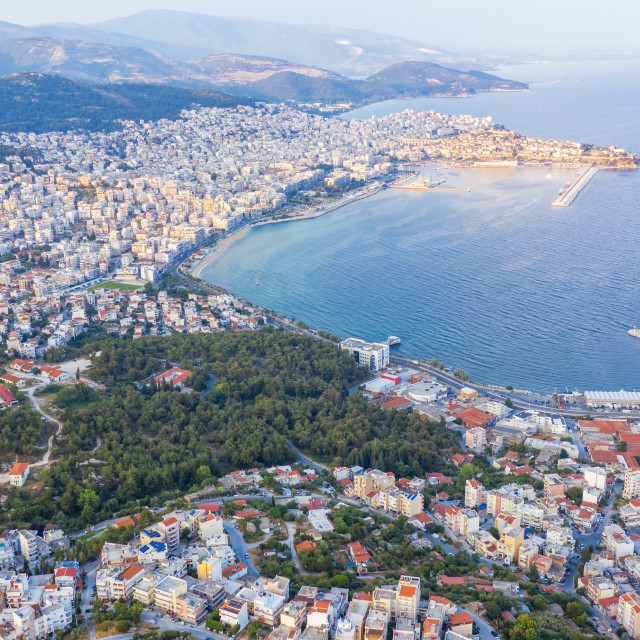 """""""Aerial view the city of Kavala in northern Greek."""" stock image"""