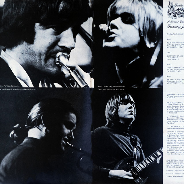 """""""Chicago: double LP total inside cover 'Chicago Transit Authority'"""" stock image"""