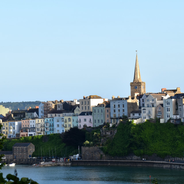 """""""A view of St Mary's Church in Tenby"""" stock image"""