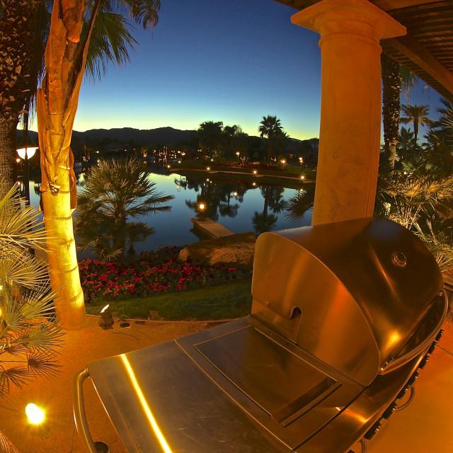 """RV resort lakeside camping"" stock image"