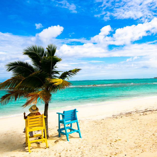 """""""Beach Chairs in the Bahamas"""" stock image"""