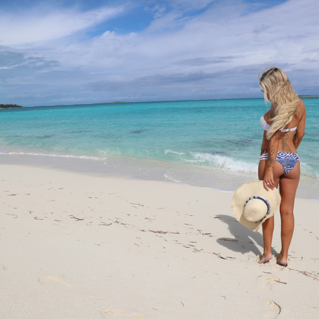 """""""A woman on the beach"""" stock image"""