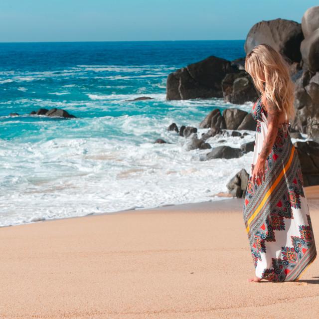 """Dress near the ocean"" stock image"