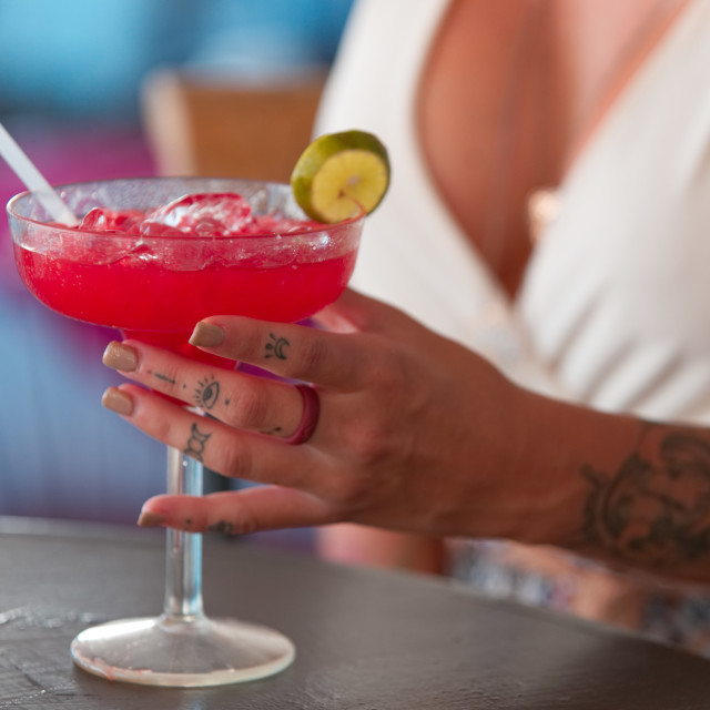 """""""Cocktails & cleavage"""" stock image"""