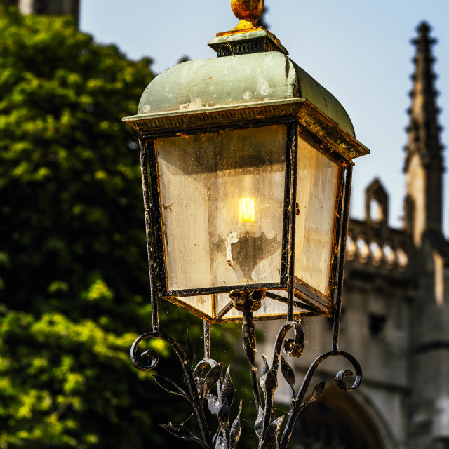 """""""Street Lamp from King's Parade, Cambridge."""" stock image"""