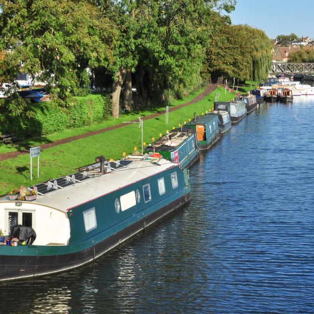 """""""Narrow Boats, Ely"""" stock image"""