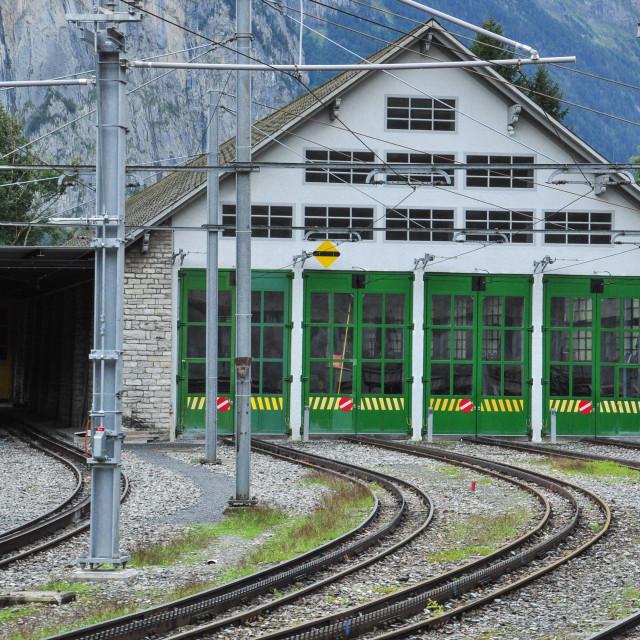 """""""Lauterbrunnen Rail Depot"""" stock image"""