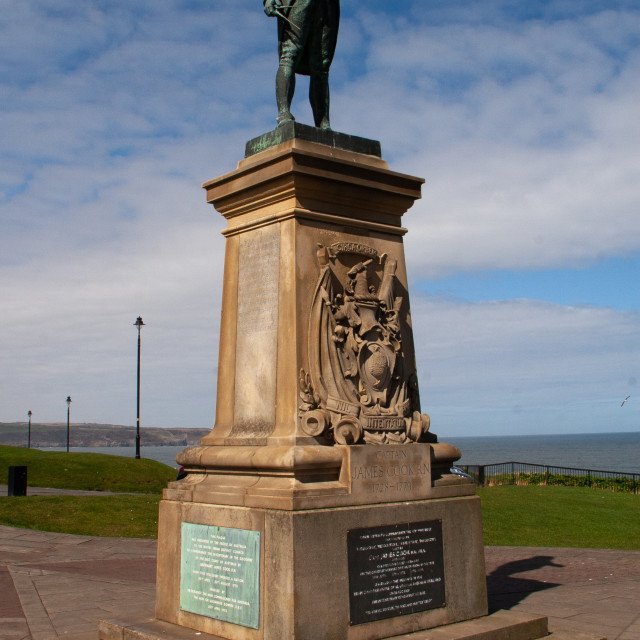 """""""Whitby, UK, Captain Cook Statue"""" stock image"""