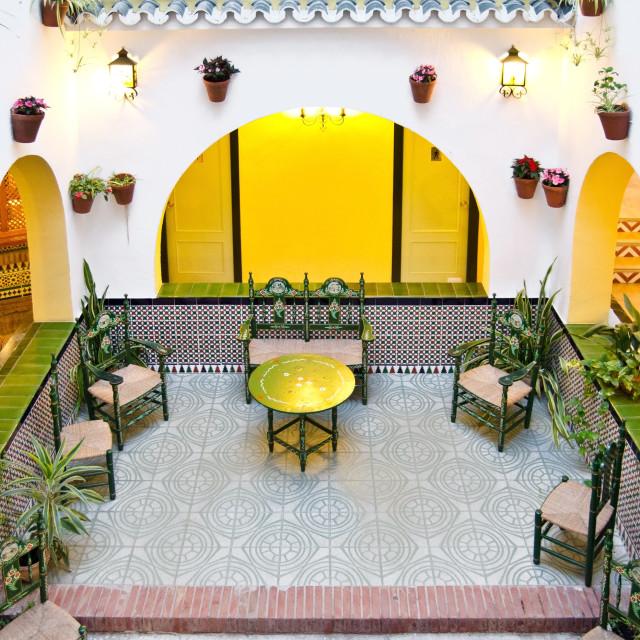 """Spanish Courtyard"" stock image"