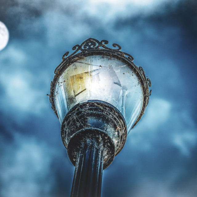 """""""Street Light and the Moon."""" stock image"""