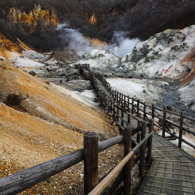 """Highway to Hell Valley (Noboribetsu, Japan)"" stock image"