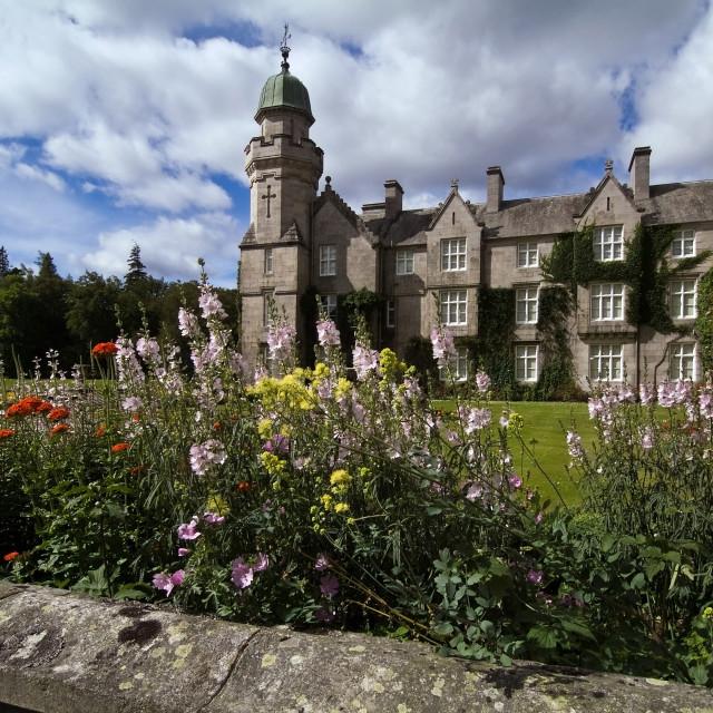 """""""Balmoral Castle Tower Garden"""" stock image"""