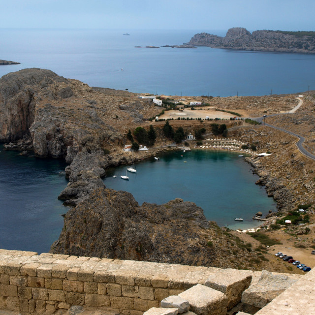 """""""From the Acropolis at Lindos"""" stock image"""