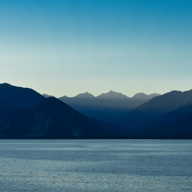 """""""Lake Maggiore after Sundown"""" stock image"""