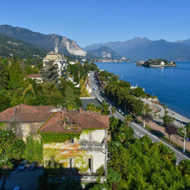 """""""Lakeside Road in Stresa"""" stock image"""