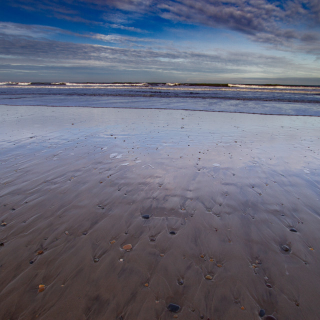 """""""Whitby, UK, Beach, Reflection. Blue Sky and Copy Space."""" stock image"""