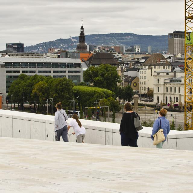 """Roof of Opera House, Oslo, Norway"" stock image"