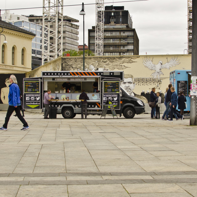 """Fast Food Vans, Oslo, Norway"" stock image"