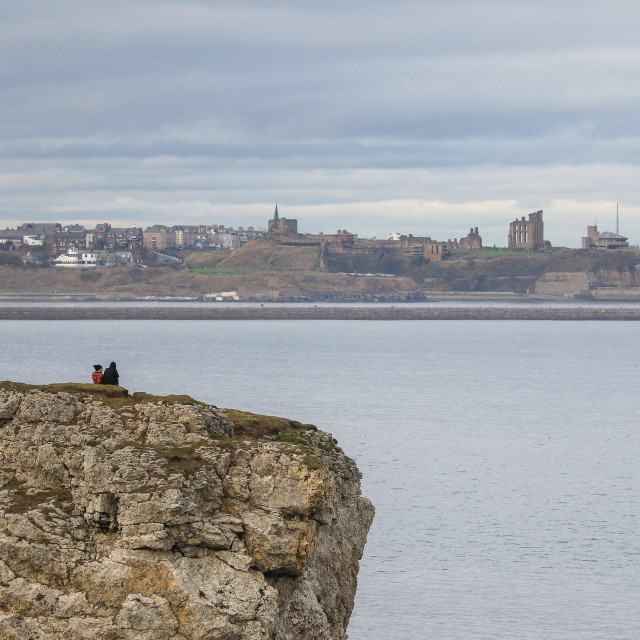 """""""A distant view of Tynemouth"""" stock image"""