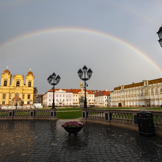 """Double rainbow after rain"" stock image"