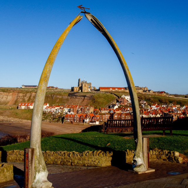 """""""Whitby,UK,Yorkshire,East coast, Monuments, the Whalebone Arch. Whitby Abbey in the background."""" stock image"""