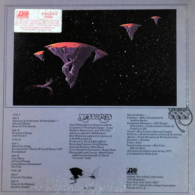 """""""Yes: triple LP back cover: 'Yessongs'"""" stock image"""