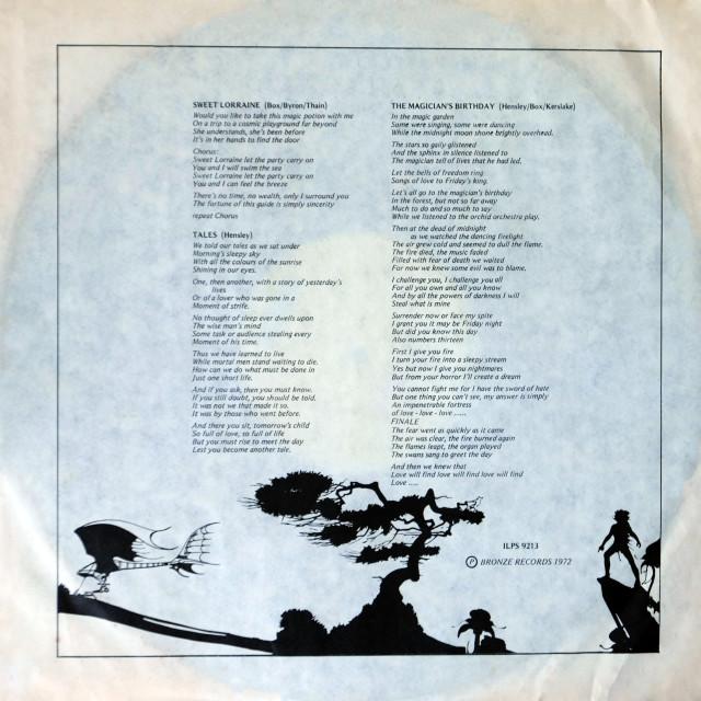 """Uriah Heep: LP inner sleeve 2 'The Magician's Birthday'"" stock image"