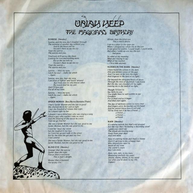 """Uriah Heep: LP inner sleve 1 'The Magician's Birthday'"" stock image"