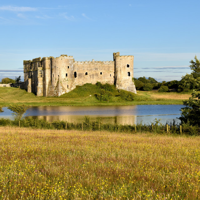 """""""A view of Carew castle on a summer evening."""" stock image"""