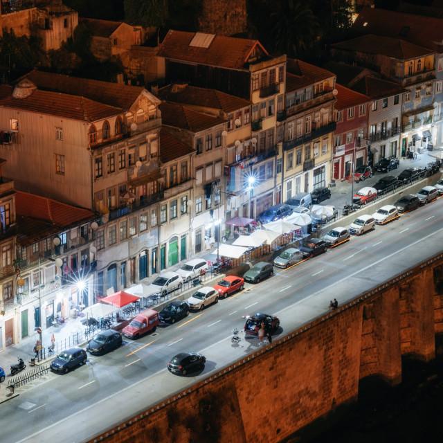 """""""Porto cityscape at night, Portugal"""" stock image"""