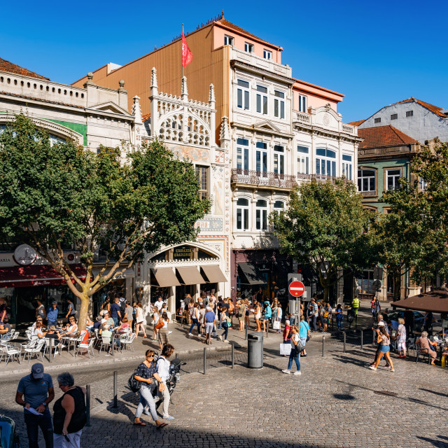 """cozy street with people in Porto"" stock image"