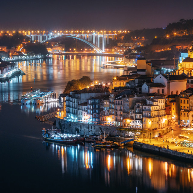 """Night city skyline of Porto, Portugal"" stock image"
