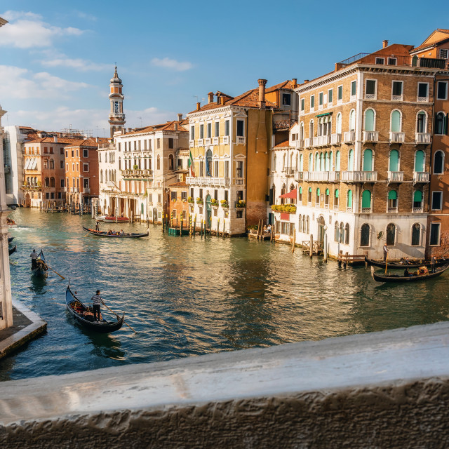 """Gondolas on Grand Canal in Venice. Italy"" stock image"