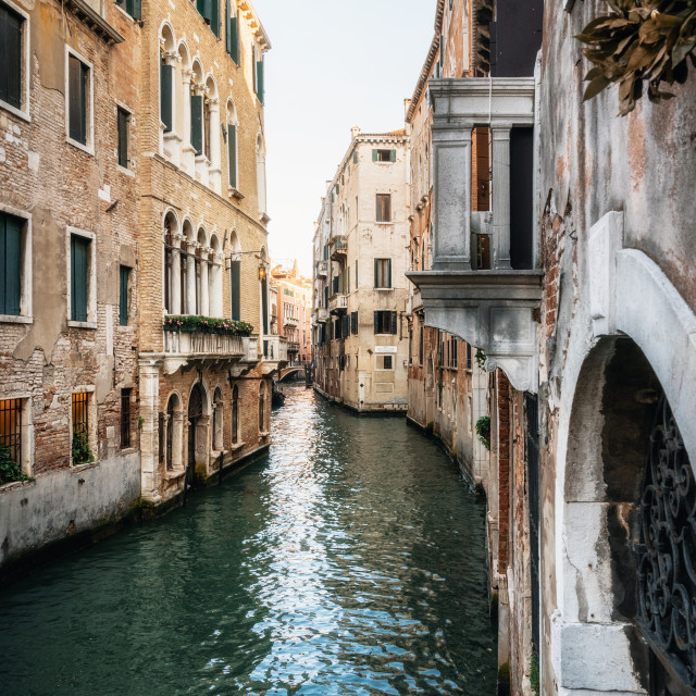 """""""Narrow canal waters of Venice Italy"""" stock image"""